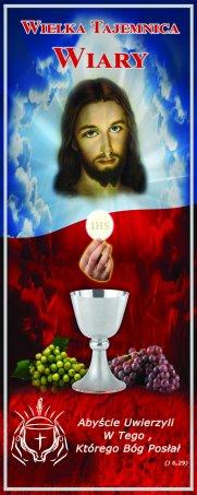 baner na rok liturgiczny, wielka tajemnica wiary, dekoracja z hasłem roku, eucharystia , baner na rok liturgiczny 2019/20 wielka tajemnica wiary, baner z hasłem roku